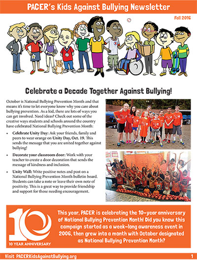 Kiads Against Bullying Newsletter - Fall 2016