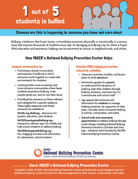 National Bullying Prevention Center Informational Flyer
