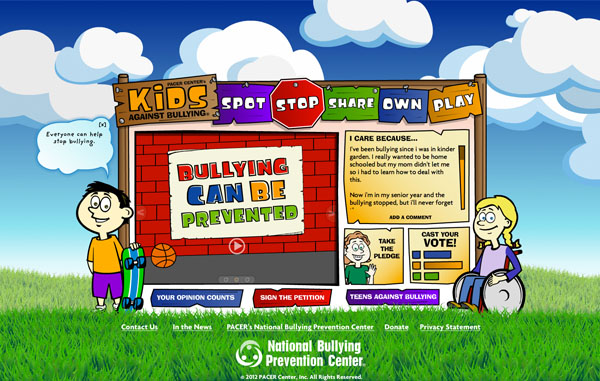 Screen shot of Kids Against Bullying site