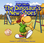 book cover for dinosaur's new shoes