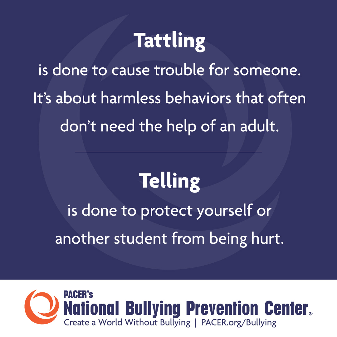 Speaking Up About Being Bullied Isn T Tattling And Our Kids Need To Know The Difference National Bullying Prevention Center