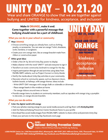 Unity Day -Wednesday, October 23, 2019- National Bullying