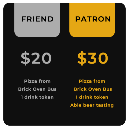 Friend Ticket - $20 - Includes Pizza and 1 Drink Token, Patron Ticket - $30 - Includes Pizza and 1 Drink Token and Able Beer Tasting