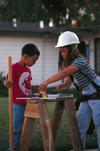 kids playing as construction workers